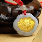 Gold inlaid jade (talisman) ChangMingSuo zodiac necklace pendant (dragon)