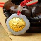 Gold inlaid jade (talisman) ChangMingSuo zodiac necklace pendant (sheep)