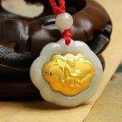 Gold inlaid jade (talisman) ChangMingSuo zodiac necklace pendant (monkey)