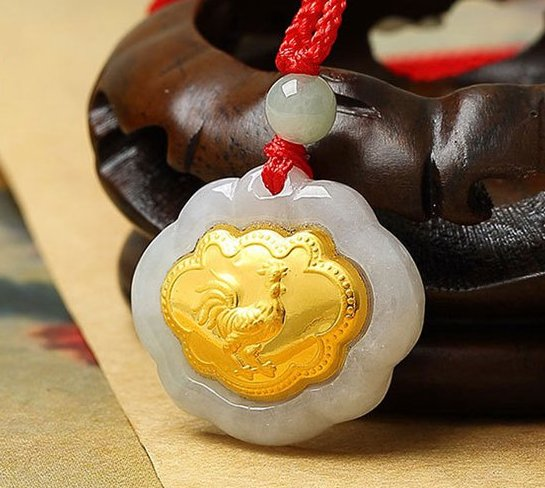 Gold inlaid jade (talisman) ChangMingSuo zodiac necklace pendant (chicken)