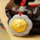 Gold inlaid jade (talisman) ChangMingSuo zodiac necklace pendant (chicken)