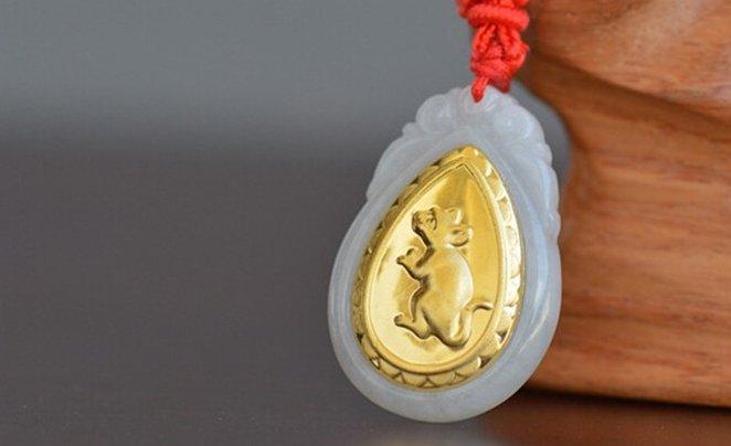 Gold inlaid jade (rat ox tiger rabbit) constellation necklace pendant (talisman)
