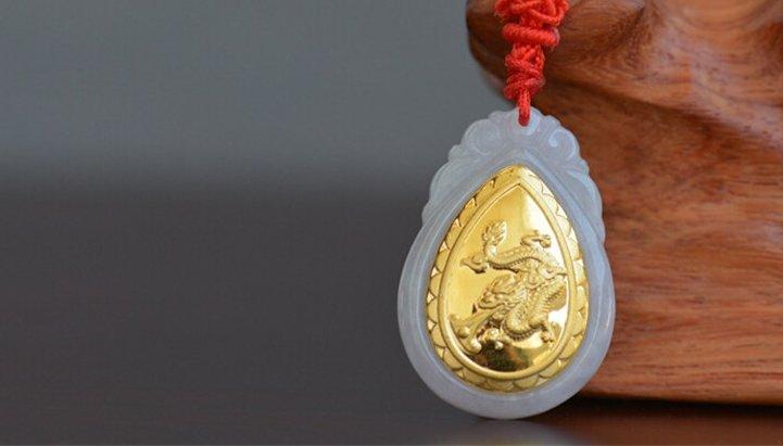 Gold inlaid jade (dragon snake horses sheep) constellation necklace pendant (talisman)