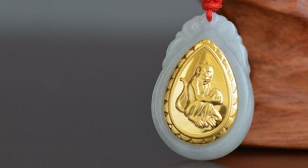 Gold inlaid jade sign (monkey chicken dog pig) necklace pendant (talisman)