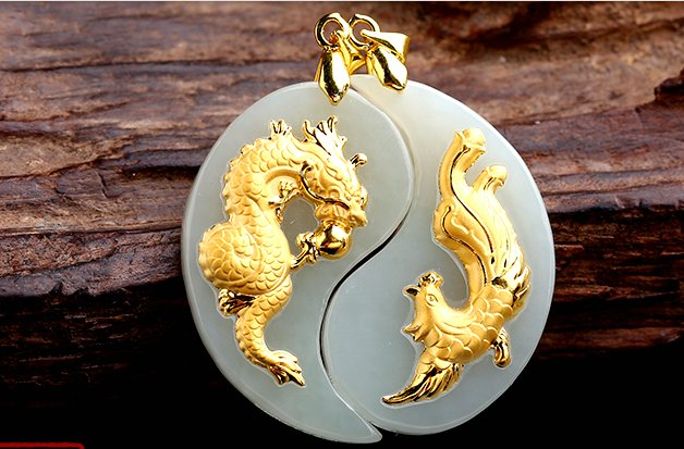 Tai chi gold inlaid jade amulet sabrina (lovers). Necklace pendant.