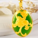 Gold inlaid jade green the mythical wild animal (oval) charm necklace pendant