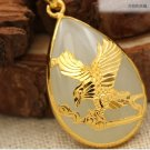 Gold inlaid jade white water droplets eagle (future) charm necklace pendant