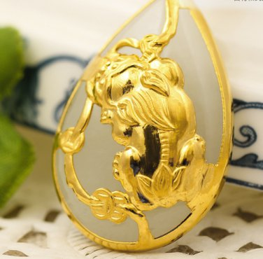 Gold inlaid jade white drops the mythical wild animal (talisman) necklace pendant (paragraph 2)