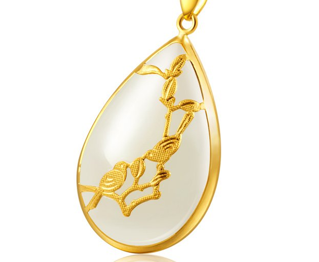 Gold inlaid jade white water droplets (talisman) magpie on mei necklace pendant (smiles)