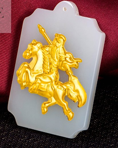 Gold inlaid jade white rectangle wu mammon duke guan (talisman) necklace pendant (paragraph 2)