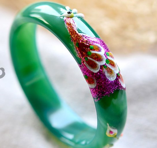 National wind green peacock flower bracelets agate coloured drawing or pattern. Women love