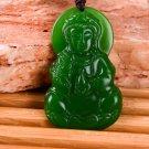 Manual sculpture, talisman Green jade goddess of mercy. Necklace pendant