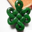 Manual sculpture, talisman Jade Chinese knot Double knot. Necklace pendant