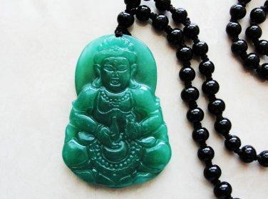 Manual sculpture Natural jade oil cyan guanyin (talisman) necklace pendant