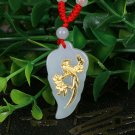 Gold inlaid jade lucky pendant Jade mei magpie on charm necklace pendant