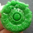 Green jade Manual sculpture talisman Circular dragon playing bead. Lucky pendant necklace