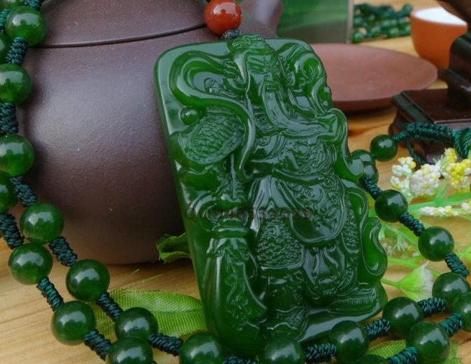 Green jade Manual sculpture talisman Rectangular wu mammon guan gong. Lucky pendant necklace