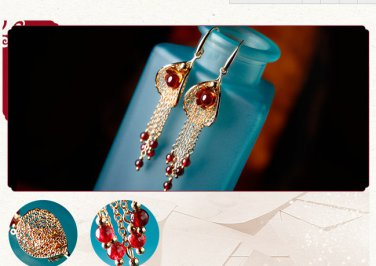 Gold plated alloy garnet tassel long retro anti allergic stud earrings. The choice of beauty