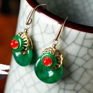 Green jade retro gold-plated alloy sexy/allergy stud earrings. The beauty like best