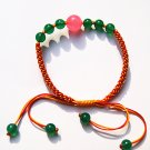Hand catenary, pure manual weaving colorful kong knot The green agate pink jade bracelet.