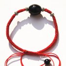 "Pure manual weaving red king kong ""+ black drum agate beads, Tibetan silver beads bracelet."