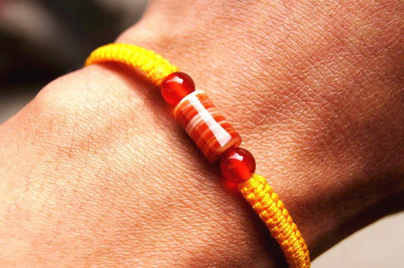 Pure manual weaving yellow + 1 cylindrical flat knot sardonyx beads lucky bracelet
