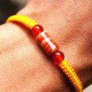 Pure manual weaving yellow + 1 cylindrical flat knot sardonyx beads lucky bracelet
