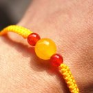 Bracelet with yellow yellow jade round bead nao flat beads lucky bracelet