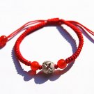 "Manual red king kong """" 925 silver bead lucky bracelet"