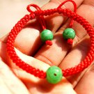 "Manual red king kong ""green jade lulutong bead lucky bracelet"