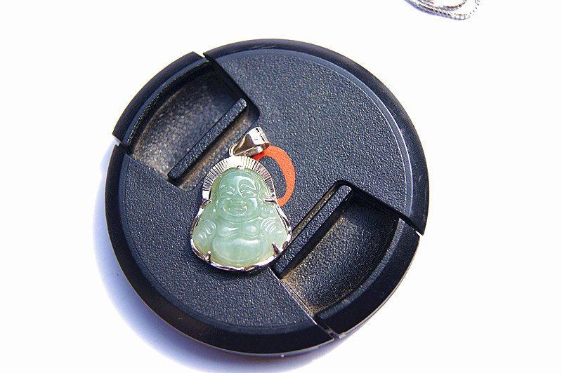 Vintage 925 sterling silver inlaid jade Buddha pendant, and the green jade pendant necklace.