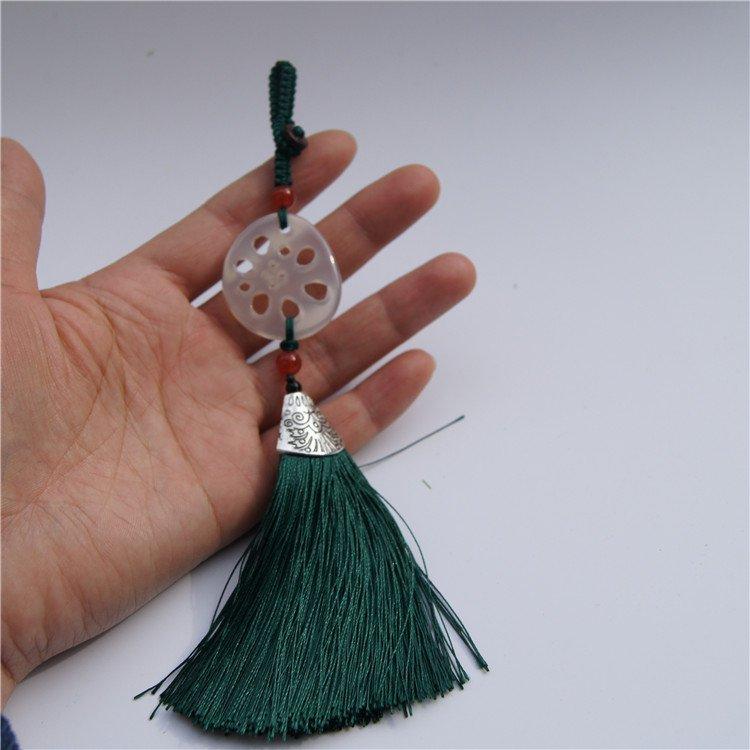 Manual sculpture chalcedony LianCai tassel (repeatedly rich) yinhua holds waist pendant