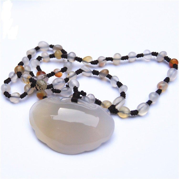Natural agate ChangMingSuo (charm). Auspicious necklace pendant