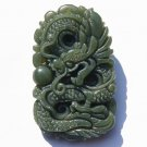 Natural gray jade, hand-carved talisman (swimming dragon pearl necklace pendant