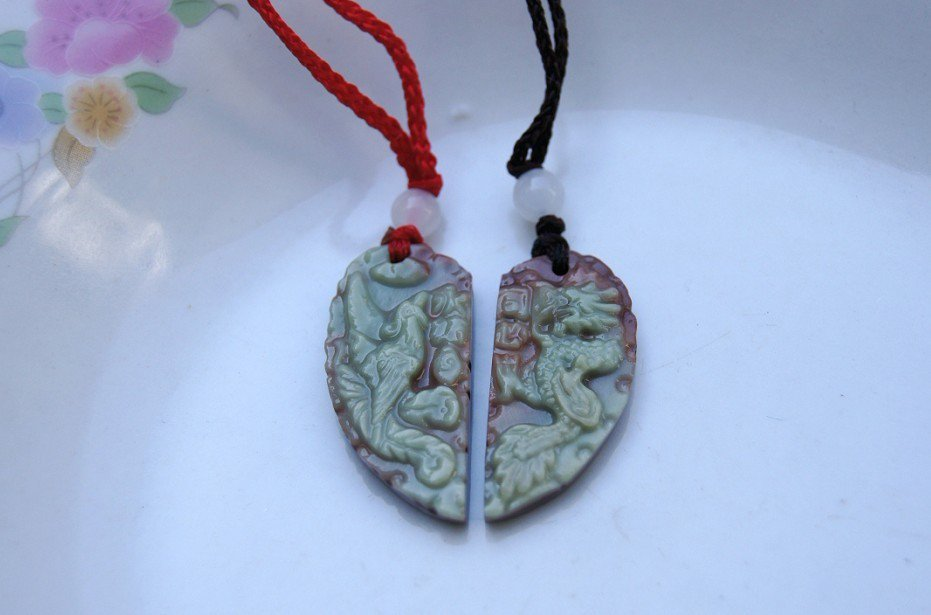 Beautiful natural purple jade. Dragon and phoenix match. Lover's style, amulet pendant - necklace.