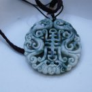 Natural ginger flower jade, double dragon sends (longevity) (amulet). Necklace pendant.