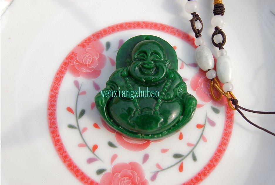 The natural green jade has a long life. Talisman. Pendant necklace,
