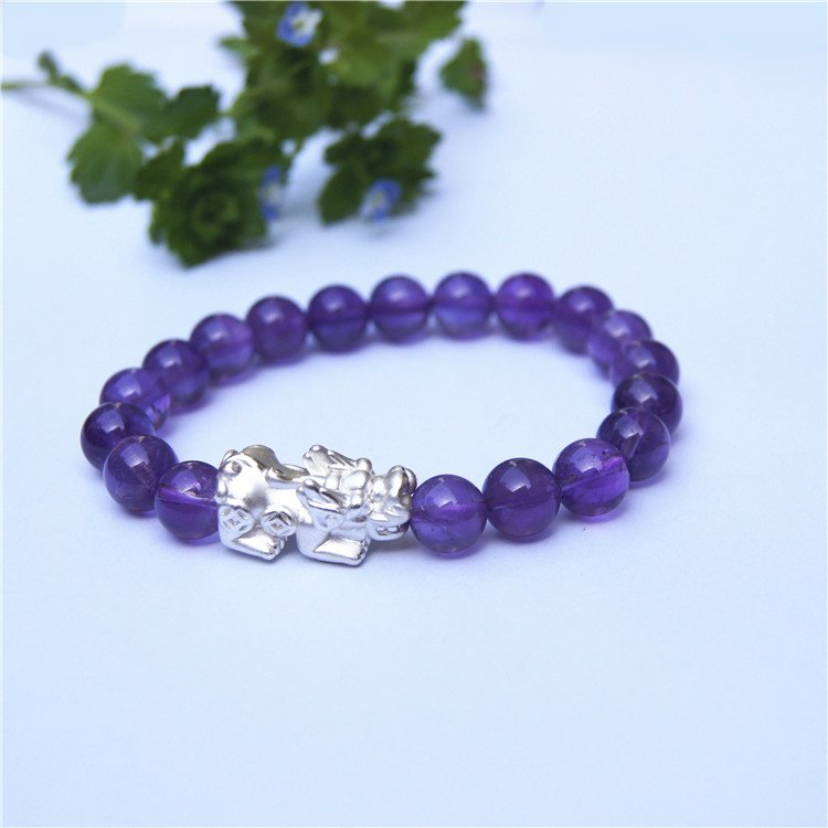 Purple round crystal beads 19 925 pure silver of the lucky bracelet.