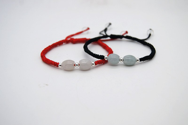 Hand-knitted black red snake knot +2 jade beads 3 925 pure silver beads (lovers' style) bracelet