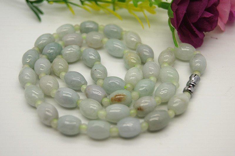 Tibetan buddhist prayer beads 42 natural jade (drum beads + 44 round beads) bracelet necklace