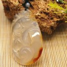 Natural ice white agate - hand-carved (amulet), oval shape - ruyi. Necklace pendant