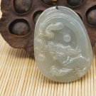 Pure natural ice type emerald, hand-carved flying dragon, amulet necklace pendant,