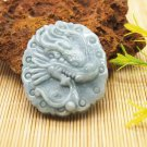 Natural jade handmade sculpture of the charm of the charm for nine days. Necklace pendant