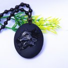 Hand-carved natural obsidian Wolf, elliptic necklace, pendant.
