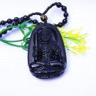 Pure natural obsidian, carved by hand, the bodhisattva, the oval talisman necklace,
