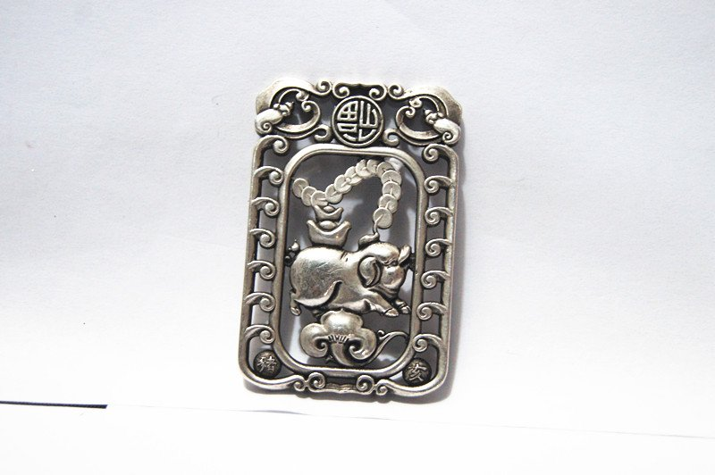 Vintage white copper double-sided rich pig. Rectangular lucky necklace pendant.