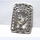 .Vintage white bronze double-sided cock (auspicious). Rectangular lucky necklace pendant.
