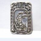 .Ancient white copper two-sided monkey (longevity peach). Rectangular lucky necklace pendant.