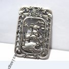 .Vintage white bronze double-sided sheep money (lucky words). Rectangular lucky necklace pendant.