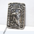 Vintage white bronze double-faced tiger. Rectangular lucky necklace pendant.